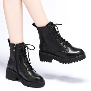 真皮厚底马丁靴2018冬英伦网红短靴欧洲站松糕女鞋机车女靴子