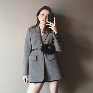 小西装外套女2018秋装复古显瘦chic中长款千鸟格西服
