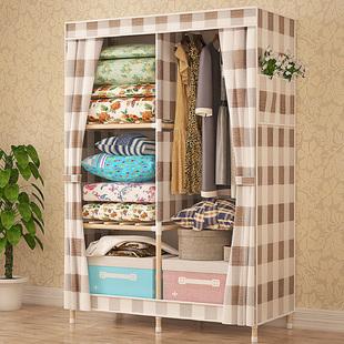 租房衣柜简易布衣柜实木推拉门折叠组装寝室可拆卸布艺单人挂衣橱