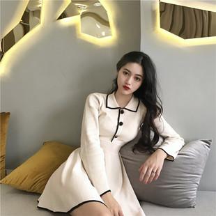秋冬季复古中长款裙子气质纯色长袖针织裙显瘦连衣裙女