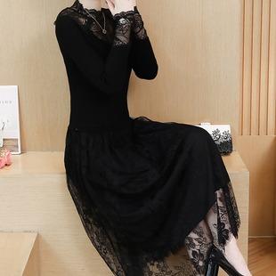 蕾丝针织拼接加绒连衣裙女2018秋冬中长款花边长袖毛衣打底裙