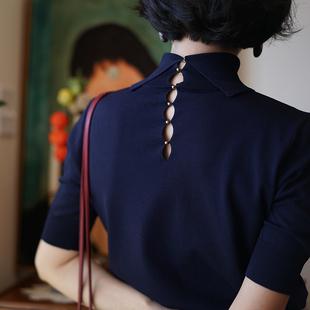 ching's 复古气质高领后背镂空五分袖针织衫女打底上衣秋冬
