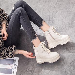 白色短靴女春秋2018高跟松糕鞋女冬季加绒厚底内增高马丁靴子