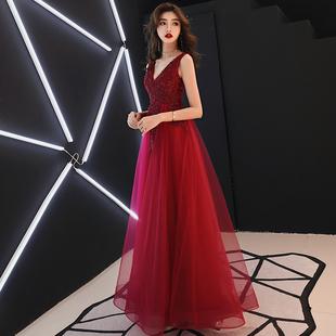 敬酒服新娘2019夏季长款红色结婚晚礼服裙性感V领现代显瘦女