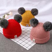 秋冬婴儿帽子0-3-6-12个月女宝宝加绒毛线帽1-2岁3儿童针织帽潮男