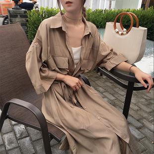 初春chic中长款收腰系带翻领七分袖单排扣开衫薄款风衣外套女