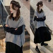 孕妇秋季套装2020时尚秋冬宽松遮肚毛衣马甲黑色连衣裙两件套