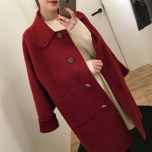 2018秋冬流行中长款小个子毛呢外套森系学生宽松红色呢子大衣