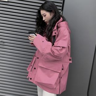 2018冬季粉色oversize宽松风衣女外套中长款大衣加厚棉服