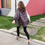 格子衬衫女2019春季宽松bf港风磨毛长袖春秋格子外套上衣