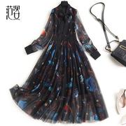 范姿碎花裙2021年春款女装气质网纱拼接假两件连衣裙中长款雪纺裙