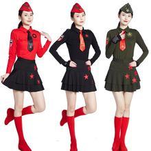 森林骑士水兵舞服装女款长袖套装五星翻领T恤广场舞团队表演服装