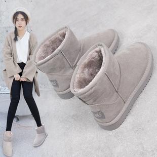 鮀品冬季女靴百搭雪地靴保暖加绒加厚棉鞋女学生短筒短靴