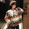 时尚套装秋冬女装条纹针织衫毛衣+蕾丝娃娃领衬衫两件套