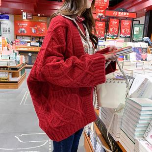 很仙的毛衣外套女开衫2019春秋宽松百搭慵懒风加厚针织衫上衣