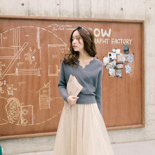 抹茶姑娘浪漫轶事法式复古显瘦设计毛衣冬季短款高端针织衫女