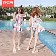 亦美珊连体泳衣 女保守裙式韩国遮肚显瘦小胸聚拢学生温泉游泳衣