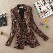 2014春秋女装豹纹长袖显瘦大码西服小西装女士小西服外套