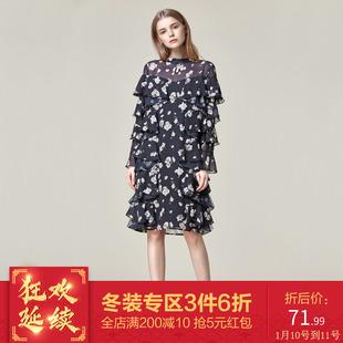 芭系列品牌女装2018冬季花版印花超仙连衣裙雪纺中长裙