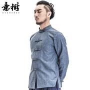 意树中国风原创男装长袖衬衫棉麻盘扣唐装复古衬衣中式立领上衣秋