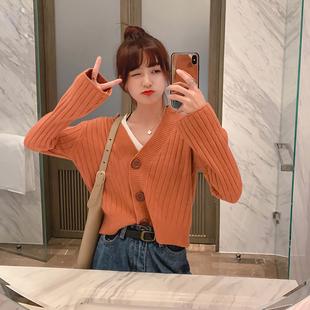 减20很仙的开衫毛衣女早秋网红宽松洋气学生短款针织外套