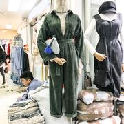 2018秋冬季小个子高腰单排扣绿色长袖灯芯绒直筒工装连体裤女