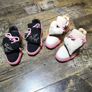 欧洲风格站2018秋季女鞋羊猄皮爱心厚底可爱街头范高帮鞋潮流