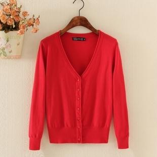 春秋女款针织开衫空调衫百搭纯色大码毛衣短款薄外套上衣