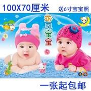孕妇胎教墙贴画海报宝宝小孩儿童卧室图片墙画女宝宝大眼睛相片
