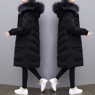 欧洲站2018冬装中长款过膝大毛领羽绒服女大码加厚白鸭绒外套