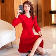 红色小个子礼服连衣裙女装秋装2021年本命年气质回门打底裙子