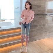 MIUCO中式立领盘扣提花外套+亮片拼接裤脚牛仔裤套装女2021早秋新