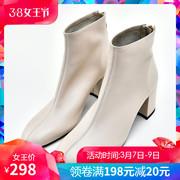 2018秋冬靴子白色真皮方头短靴女 高跟踝靴女及裸靴粗跟皮靴