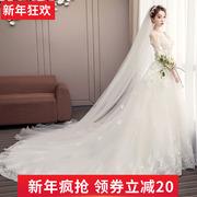 轻主婚纱礼服裙2018新娘结婚拖尾公主梦幻超仙白色森系出门女