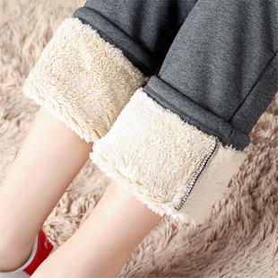 加绒运动裤女加厚羊羔绒棉裤子女直筒裤秋冬宽松外穿学生卫裤