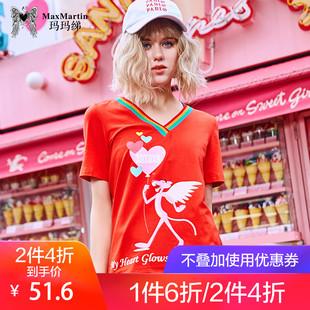玛玛绨2018秋季时尚v领卡通印花红色上衣潮chic短袖T恤女