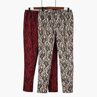 秋冬裤显瘦气质蕾丝拼接小脚裤名媛风优雅女装长裤