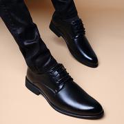 秋冬季商务透气系带内增高皮鞋男潮流英伦真皮尖头正装鞋