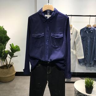 2019春秋款欧洲站显瘦牛仔衬衫女深蓝色弹力牛仔衬衣女上衣潮