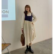 朱米米 微胖大码女装娃娃领显瘦裙子女秋季胖mm假两件长袖连衣裙