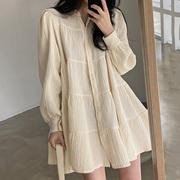 韩国chic春季简约气质翻领褶皱感宽松单排扣泡泡袖短款娃娃连衣裙