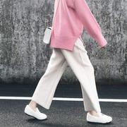 毛呢阔腿裤女秋冬九分裤加厚直筒裤复古学生宽松百搭坠感甩裤