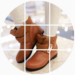 2014秋季白色平底女鞋皮带扣平跟短靴女靴子女学生靴