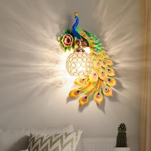 欧式孔雀壁灯创意客厅电视背景墙装饰现代卧室床头过道楼梯网红灯