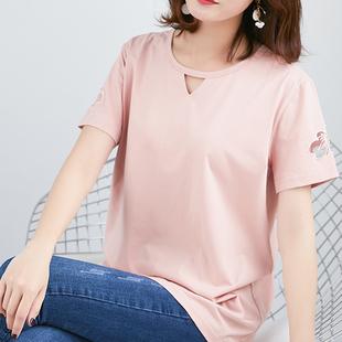 粉色纯棉短袖t恤女2019春装胖mm时尚T恤衫宽松大码上衣女