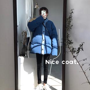 女装2018秋冬时尚chic百搭中长款长袖加厚面包服棉服外套