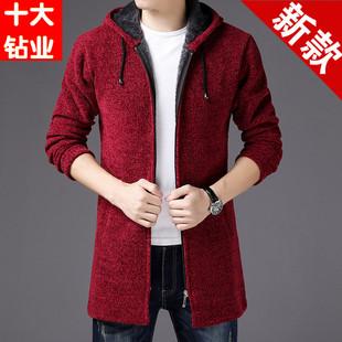 男士中长款夹克外套风衣冬季加绒加厚连帽针织开衫男装潮