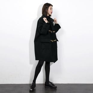 2018秋冬赫本黑色牛角扣呢子大衣中长款毛呢外套女小个子加厚