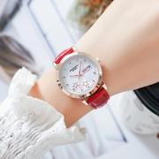 手表女学生韩版简约休闲时尚水钻潮流双日历夜光皮带防水女士腕表