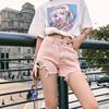 2019春季高腰破洞牛仔短裤时尚裤子 150cm小个子牛仔裤女显瘦